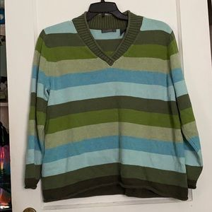 Cotton sweater with stripes